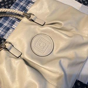 Off white leather shoulder bag